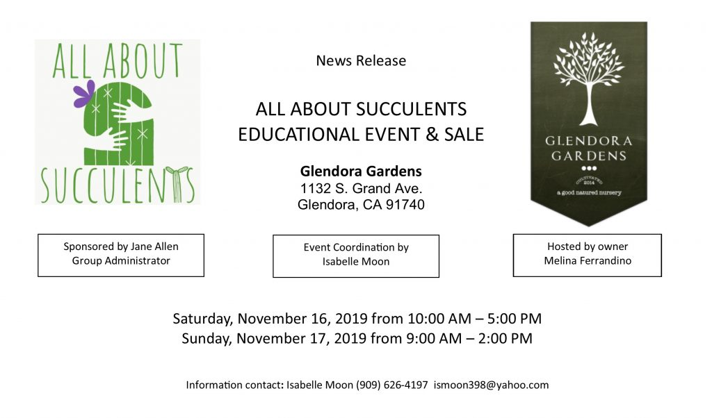 Glendora Gardens: All About Succulents Event & Sale