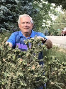Rod Haenni in his garden